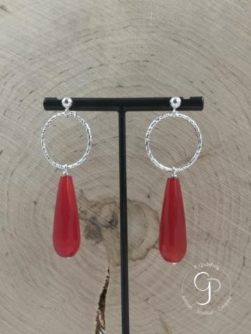 Boucles d'oreilles cercles diamantés pampilles agate rouge argent 925 millièmes 68 euros