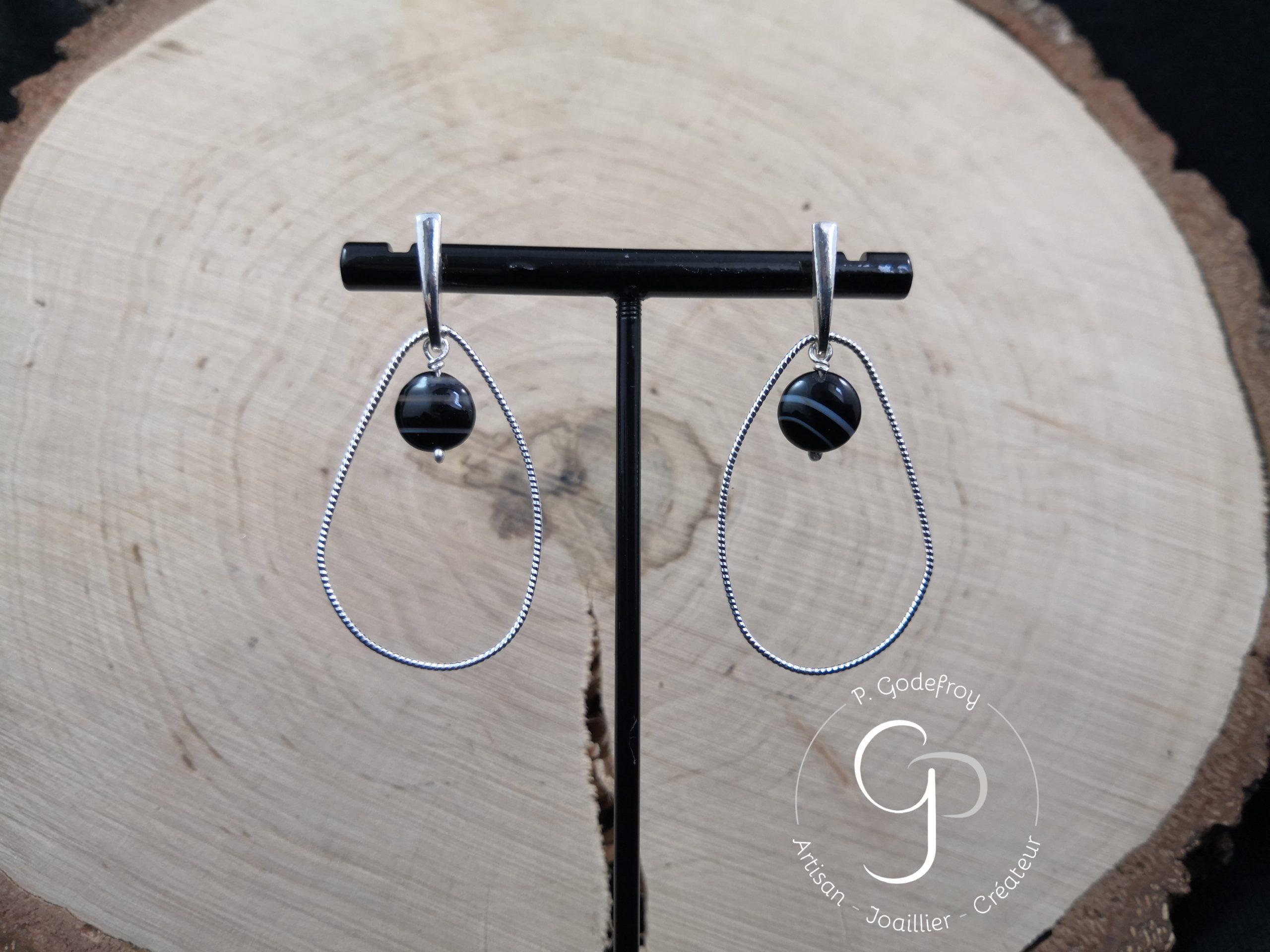 Boucles d'oreilles gouttes irrégulières et perles d'agate noire 56 euros