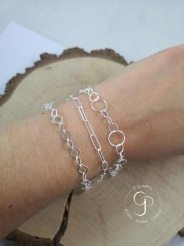 Bracelets chaines carrées, rectangles diamantés, multi-cercles argent 925 millièmes 25-32 euros