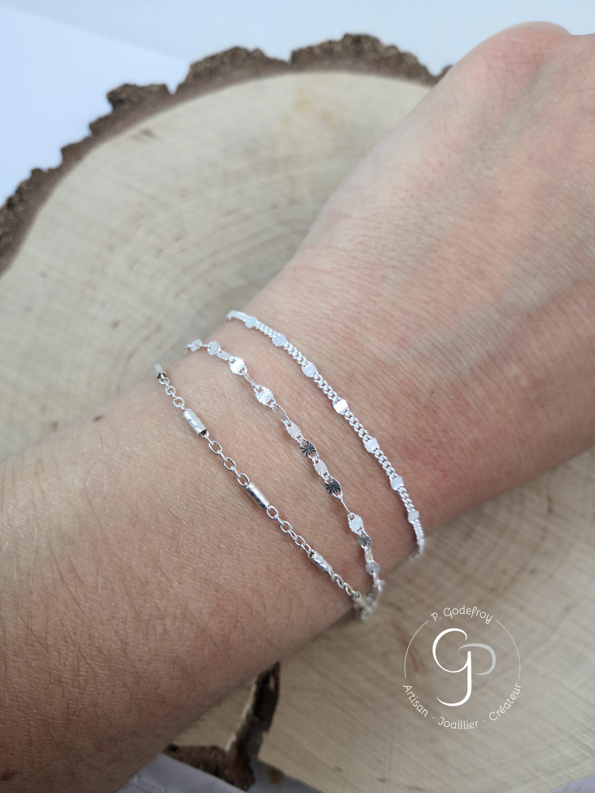 Bracelets bâtons diamantés, fantaisie, gourmette argent 925 millièmes 22 euros