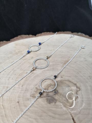 Bracelets cercles perlés lapis, hématite, spinel noir, 38 euros