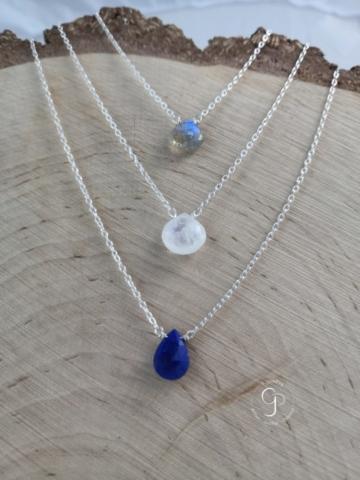 Colliers gouttes argent 925 millièmes labradorite, pierre de lune, lapis lazuli 44 euros