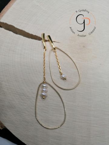 Bo asymétriques goutte perles eau douce argent plaqué or jaune 3 microns 75 euros
