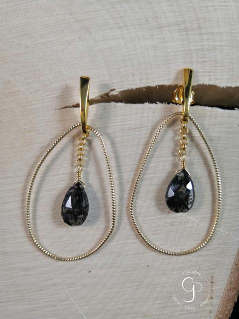Boucles d'oreilles gouttes irrégulières et quartz argent plaqué or jaune 3 microns 85 euros